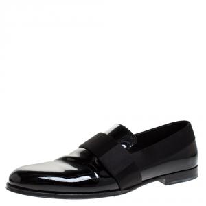 Jimmy Choo Black Patent Leather And Satin Trim John Smoking Slippers Size 43