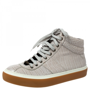 Jimmy Choo Grey Croc Embossed Leather High Top Sneakers Size 43