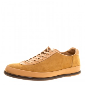 J.M.Weston Beige Suede and Leather Low Top Sneakers Size 42.5
