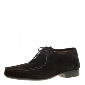 J.M.Weston Black Suede Lace Up Derby Size 42.5