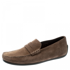 J.M.Weston Light Brown Suede Penny Loafers Size 42.5