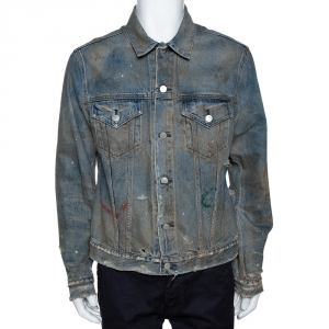 John Elliott Blue Rustic Distressed Denim Terrain Jacket XL -