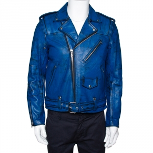 John Elliott X Blackmeans Black & Blue Painted Leather Riders Jacket L