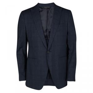 John Varvatos Navy Blue Glen Plaid Wool Linen Regular Fit Austin Blazer L