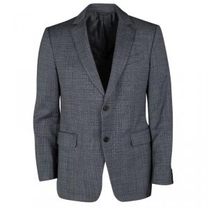 John Varvatos Navy Blue and White Wool Regular Fit Blazer L