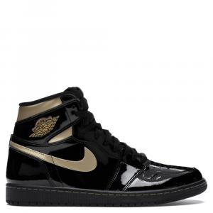Nike Jordan 1 High Black Metallic Gold Sneakers Size EU 45 US 11