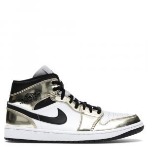 Nike Jordan 1 Mid Metallic Gold Black White Sneakers Size EU 37.5 US 5Y