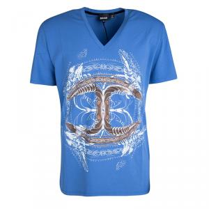 Just Cavalli Blue Graphic Logo Print V-Neck T-Shirt XXL