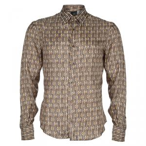 Just Cavalli Brown Printed Silk Long Sleeve Buttondown Shirt M