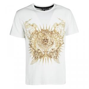 Just Cavalli White Metallic Skull Print Short Sleeve T-Shirt L