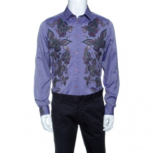 Just Cavalli Purple Butterfly Printed Cotton Long Sleeve Shirt L