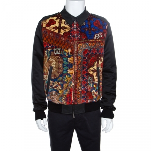 Just Cavalli Printed Corduroy and Coated Denim Zip Front Bomber Jacket L