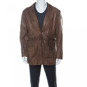 Just Cavalli Brown Leather Pleated Yoke Detail Jacket 5XL