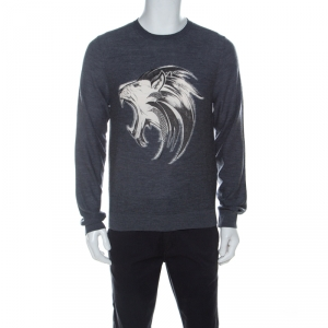 Just Cavalli Grey Wool Lion Print Sweater M
