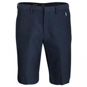 Kenzo Marine Blue Linen Blend Bermuda Shorts M