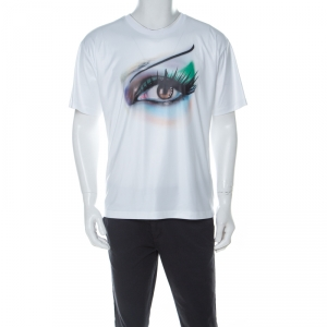 Kenzo White Coated Stretch Cotton Digital Eye Print T Shirt L