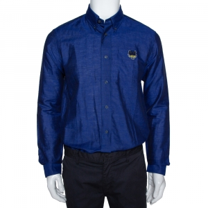 Kenzo Navy Blue Tiger Crest Embroidered Linen Blend Button Down Shirt M