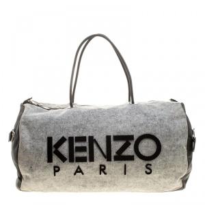 Kenzo Grey/Black Denim and Leather Duffel Bag