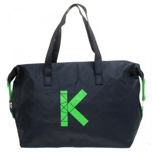 Kenzo Navy Blue/Green K Logo Nylon Weekender Duffel Bag