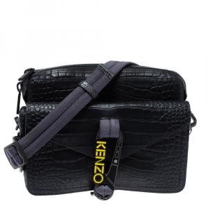 Kenzo Black Croc Embossed Leather Hiker Crossbody Bag
