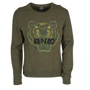 Kenzo Jungle Olive Green Tiger Motif Embroidered Sweatshirt XL