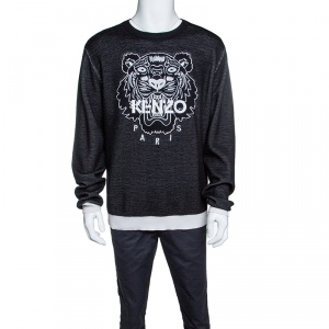 Kenzo Black Embroidered Tiger Motif Wool Blend Sweater XXL