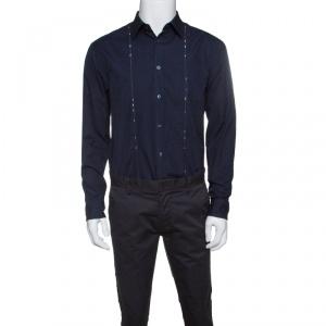 Kenzo Navy Blue Cotton Contrast Stripe Detail Slim Fit Shirt XL - used