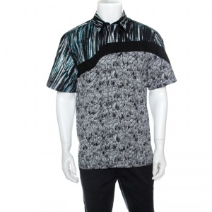 Kenzo Multicolor Scribble and Stripe Printed Cotton Short Sleeve Shirt L