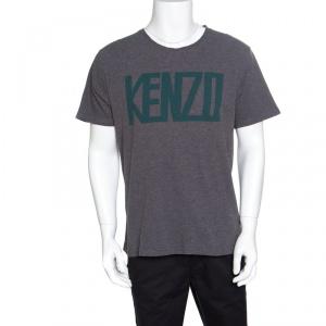 Kenzo Grey Melange Crew Neck Printed T-Shirt XL
