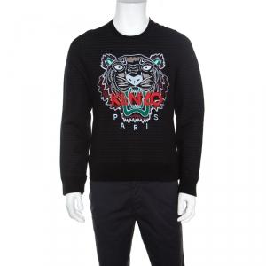 Kenzo Black Striped Knit Embroidered Tiger Motif Sweatshirt M