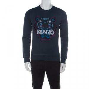 Kenzo Pine Green Embroidered Tiger Motif Cotton Sweatshirt S
