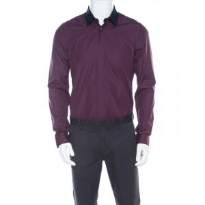 Kenzo Purple Cotton Contrast Collar Slim Plus Fit Button Front Shirt L - used