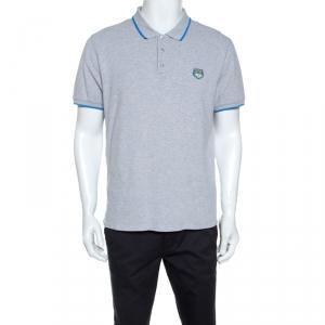 Kenzo Grey Cotton Contrast Trim Tiger Crest Polo T-Shirt L