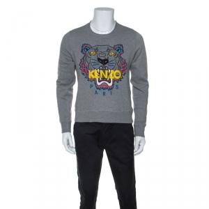 Kenzo Grey Cotton Tiger Embroidered Sweatshirt S
