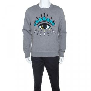 Kenzo Grey Cotton Eye Embroidered Sweatshirt L