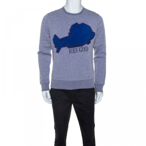 Kenzo Grey Jersey Abstract Fish Applique Sweatshirt M