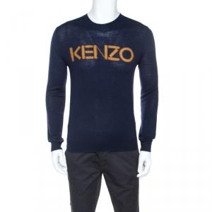 Kenzo Navy Blue Wool Blend Contrast Logo Sweater S