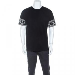 Kenzo Black Logo Printed Cotton Short Sleeve T-Shirt L