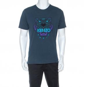 Kenzo Green Cotton Tiger Motif Print T-Shirt M