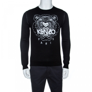 Kenzo Monochrome Tiger & Logo Embroidered Knit Sweater S
