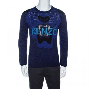 Kenzo Blue Tiger & Logo Embroidered Wool Melange Sweater S