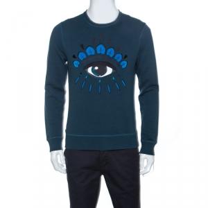 Kenzo Teal Blue Eye Motif Embroidered Knit Sweatshirt M