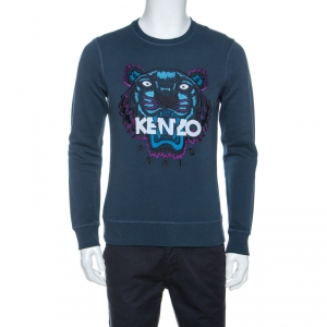 Kenzo Teal Blue Tiger & Logo Embroidered Knit Sweatshirt S