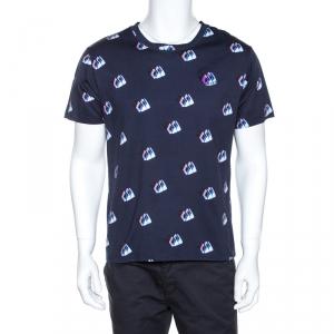 Kenzo Navy Blue Printed Cotton Logo Detail Crew Neck T-Shirt L - used