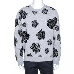 Kenzo Grey Flocked Tiger Print Cotton Sweatshirt L