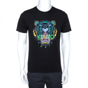 Kenzo Black Tiger Foil Print Cotton Crew Neck T-Shirt M