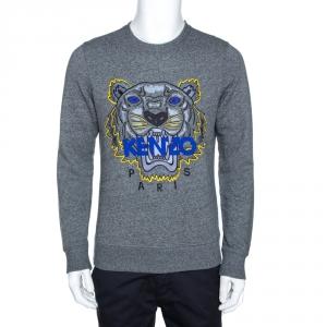 Kenzo Grey Tiger Embroidered Marl Knit Sweatshirt S