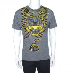 Kenzo Grey Geo Tiger Print Cotton Crew Neck T-Shirt M
