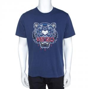 Kenzo Blue Cotton Tiger Motif Print T-Shirt XL
