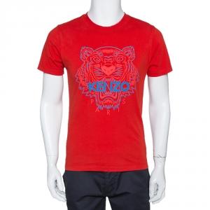 Kenzo Vibrant Red Tiger Print Crew Neck T Shirt S